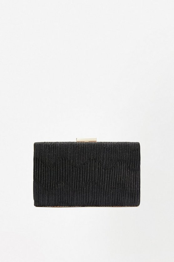 Black Pleat Shimmer Clutch Bag