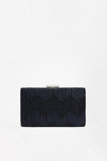 Navy Pleat Shimmer Clutch Bag