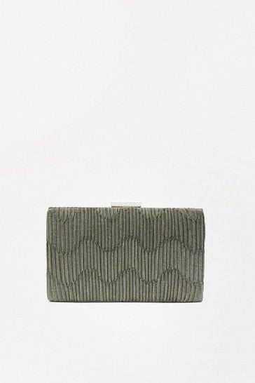 Pewter Pleat Shimmer Clutch Bag