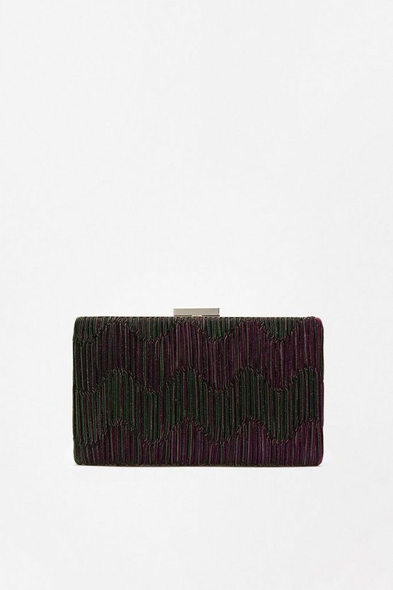 Purple Pleat Shimmer Clutch Bag