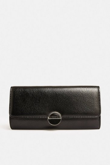 Black Circle Hardware Clutch Bag