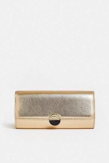 Gold Circle Hardware Clutch Bag