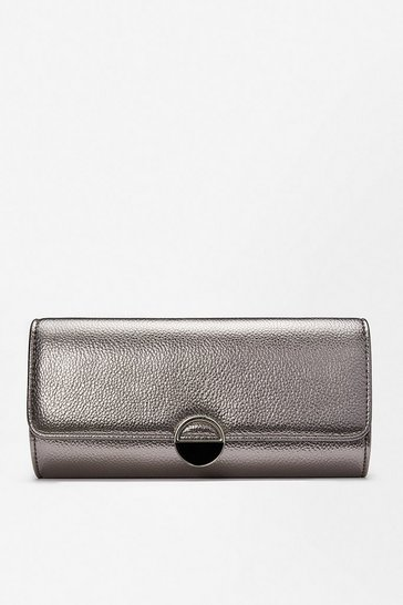 Pewter Circle Hardware Clutch Bag