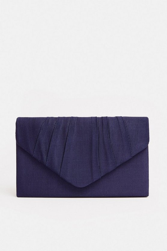 Navy Pleated Clutch Bag