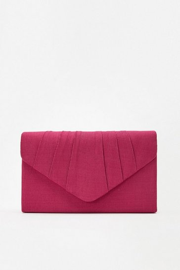 Red Pleated Clutch Bag