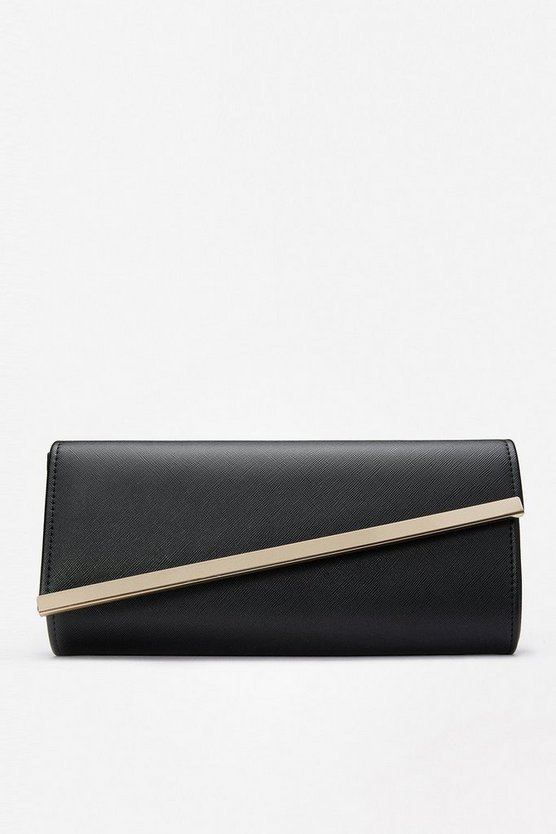 Black Angular Flap Clutch Bag