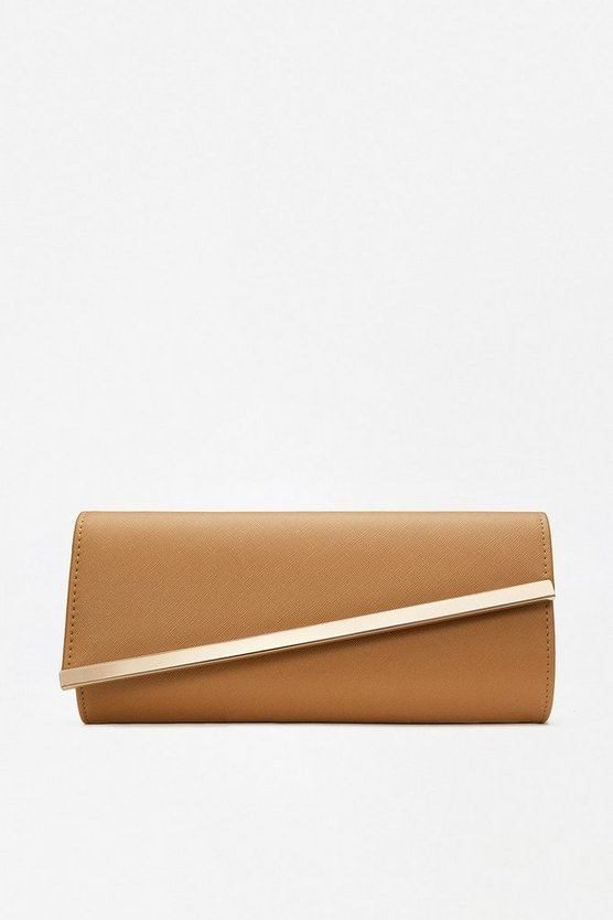 Tan Angular Flap Clutch Bag