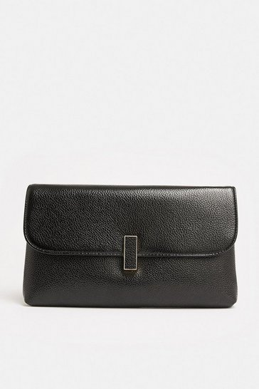 Black Metallic Clasp Clutch Bag
