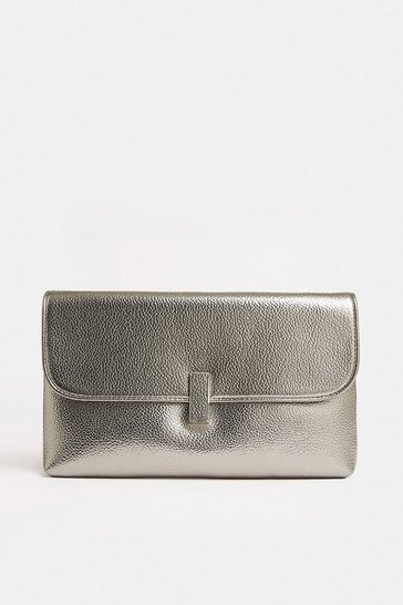 Pewter Metallic Clasp Clutch Bag