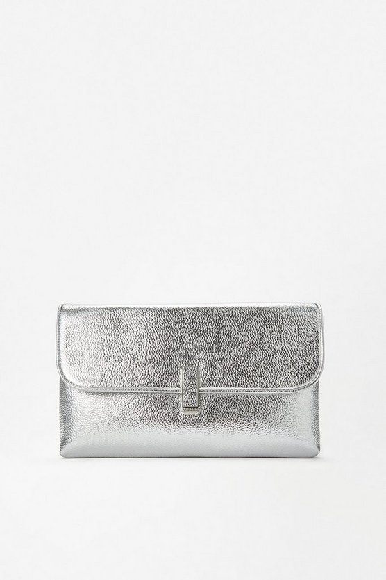 Womens Silver Metallic Clasp Clutch Bag