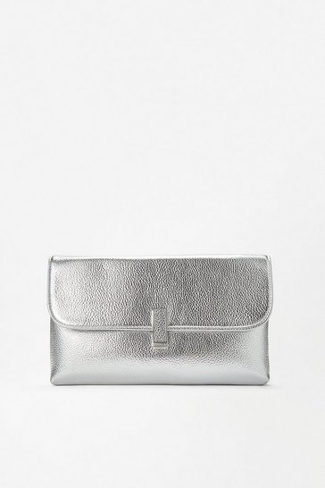Silver Metallic Clasp Clutch Bag
