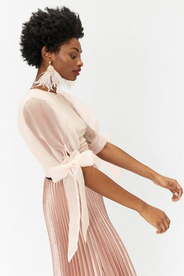 Blush Organza Sleeve Jersey Top