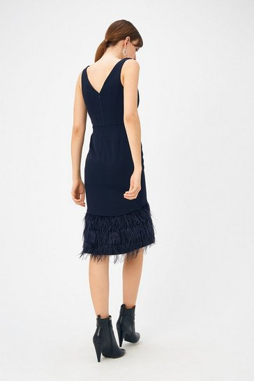 Womens Navy Feather Hem Dress