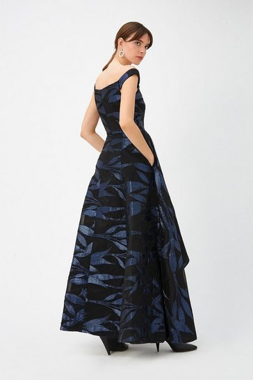 Womens Multi Blue Leaf Maxi Dress