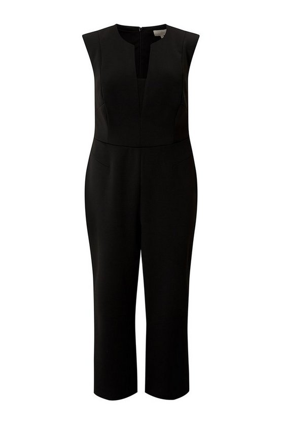 Womens Black Curve V Neck Jumpsuit
