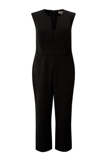 Black Curve V Neck Jumpsuit