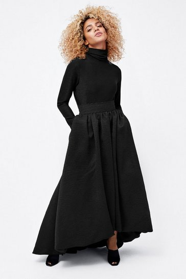 Womens Black Puff Ball Skirt