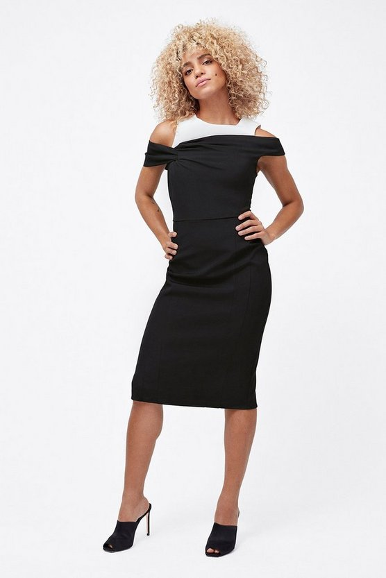 Womens Blackwhite Structured Shift Dress