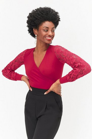 Red Interest Sleeve Jersey Top