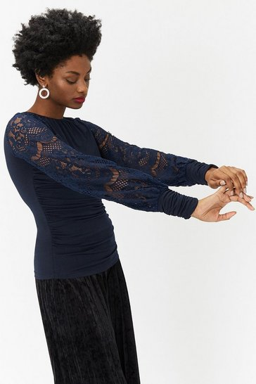 Navy Sequin Sleeve Jersey Top