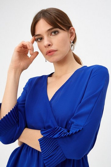 Cobalt Pleat Cuff Wrap Top