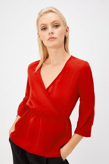 Red Pleat Cuff Wrap Top