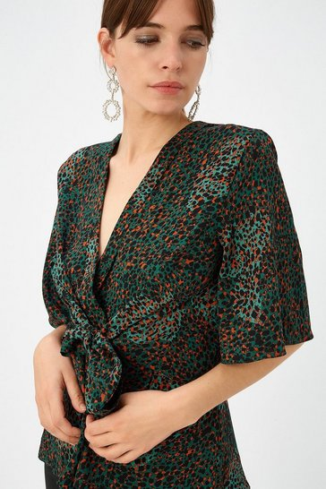 Womens Green Animal Wrap Top