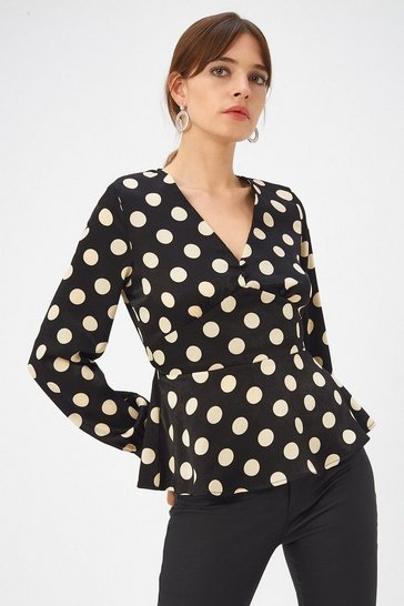 Womens Blackwhite Spot Button Detail Top
