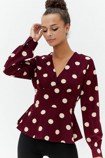 Womens Wine Spot Button Detail Top