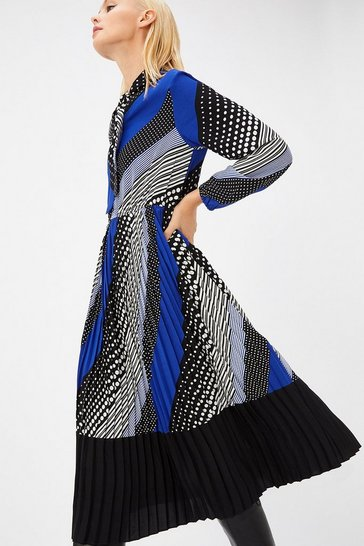 Multi Spot & Stripe Tie Neck Dress