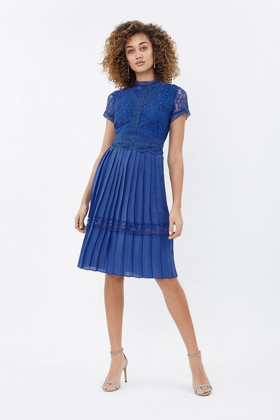 Womens Cobalt Pleated Lace Dress