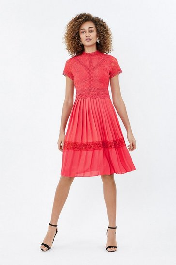 Coral Pleated Lace Dress