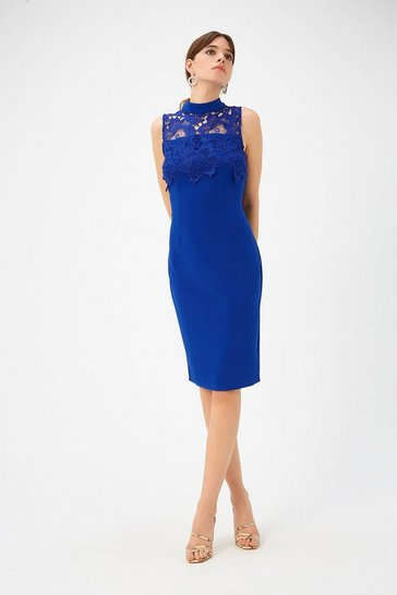 Womens Cobalt Lace Yoke Shift Dress
