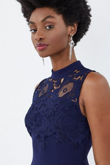 Navy Lace Yoke Shift Dress