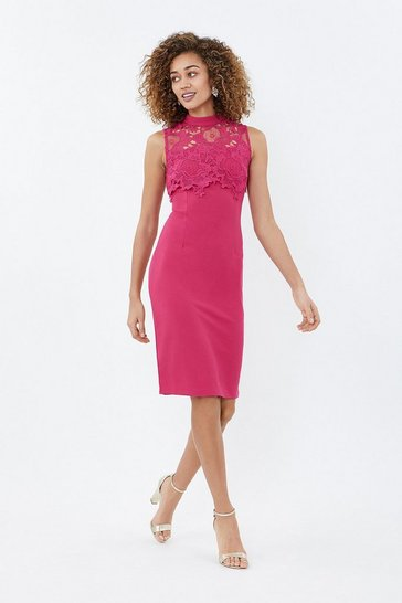 Pink Lace Yoke Shift Dress
