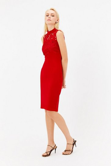 Womens Red Lace Yoke Shift Dress