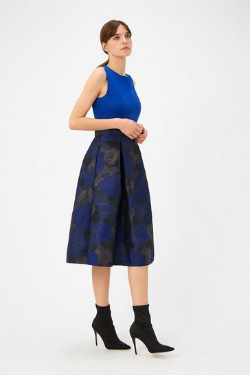 Womens Cobalt Jacquard Skirt Dress