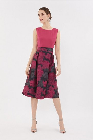 Hot pink Jacquard Skirt Midi Dress