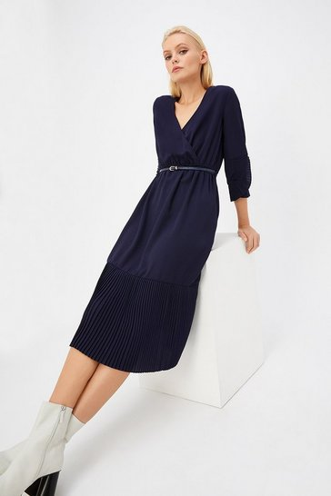 Navy Pleat Hem Wrap Dress