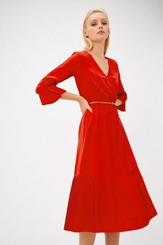 Red Pleat Hem Wrap Dress