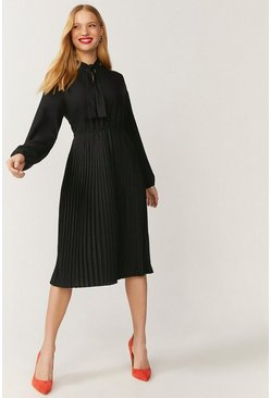 Black Tie Neck Pleat Shirt Dress
