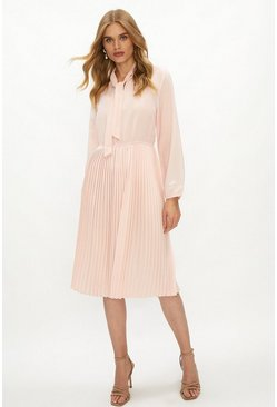 Blush Tie Neck Pleat Shirt Dress