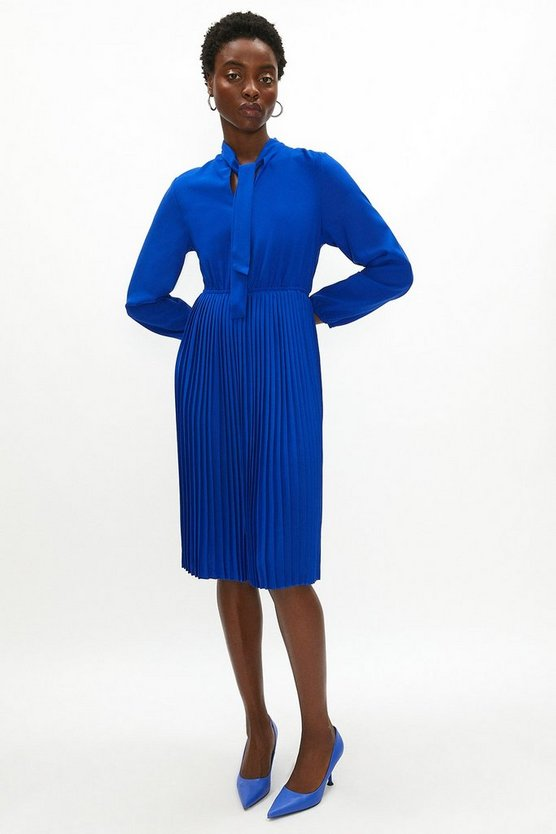 Womens Cobalt Tie Neck Pleat Shirt Dress