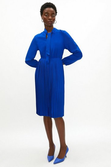 Cobalt Tie Neck Pleat Shirt Dress