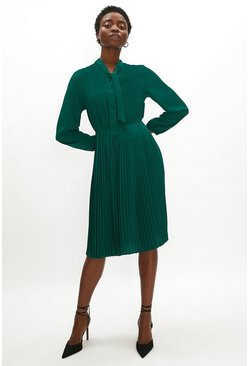 Forest Tie Neck Pleat Shirt Dress