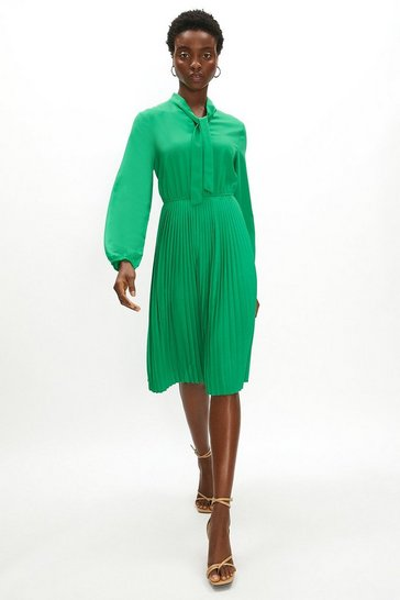 Womens Green Tie Neck Pleat Shirt Dress