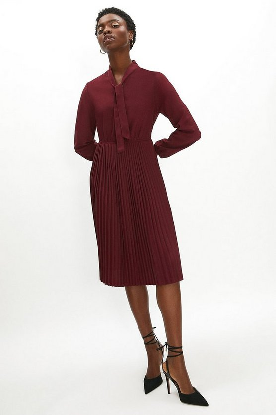Wine Tie Neck Pleat Shirt Dress