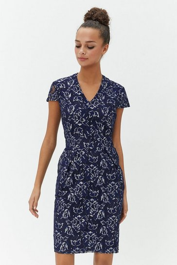Navy Lace Cap Sleeve Tulip Dress