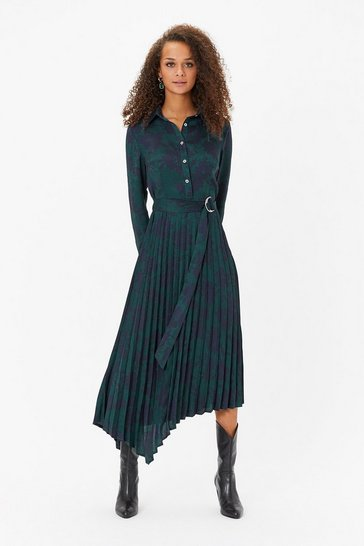Multi Print Pleat Shirt Dress