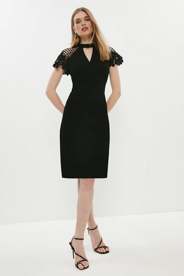 Womens Black Lace Cap Sleeve Shift Dress